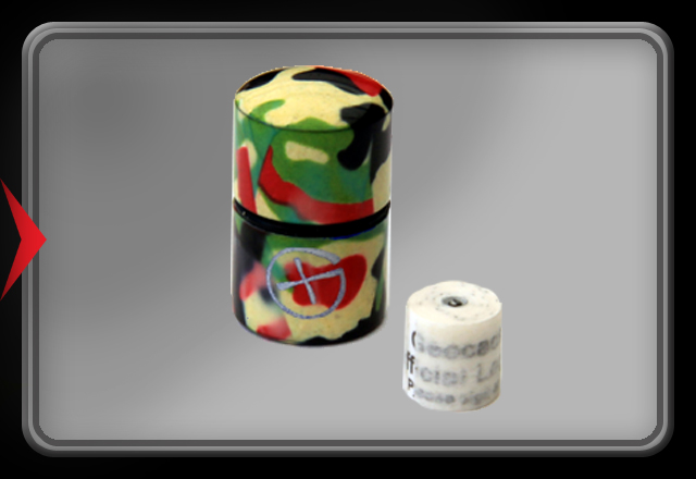 Nano Cache Camo Green/yellow/red (Magnetisch) with logsheet