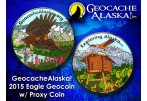 Geocache Alaska - Eagle Geocoin (Coin & Proxy Set) - Black Nickel