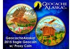 Geocache Alaska - Eagle Geocoin (Coin & Proxy Set) - Shiny Gold