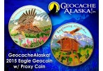 Geocache Alaska - Eagle Geocoin (Coin & Proxy Set) - Shiny Silver