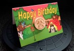 Wooden Geocoin Birthday Card