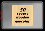 Square Wooden Geocoin - Beech Solid Wood - 50 Pieces